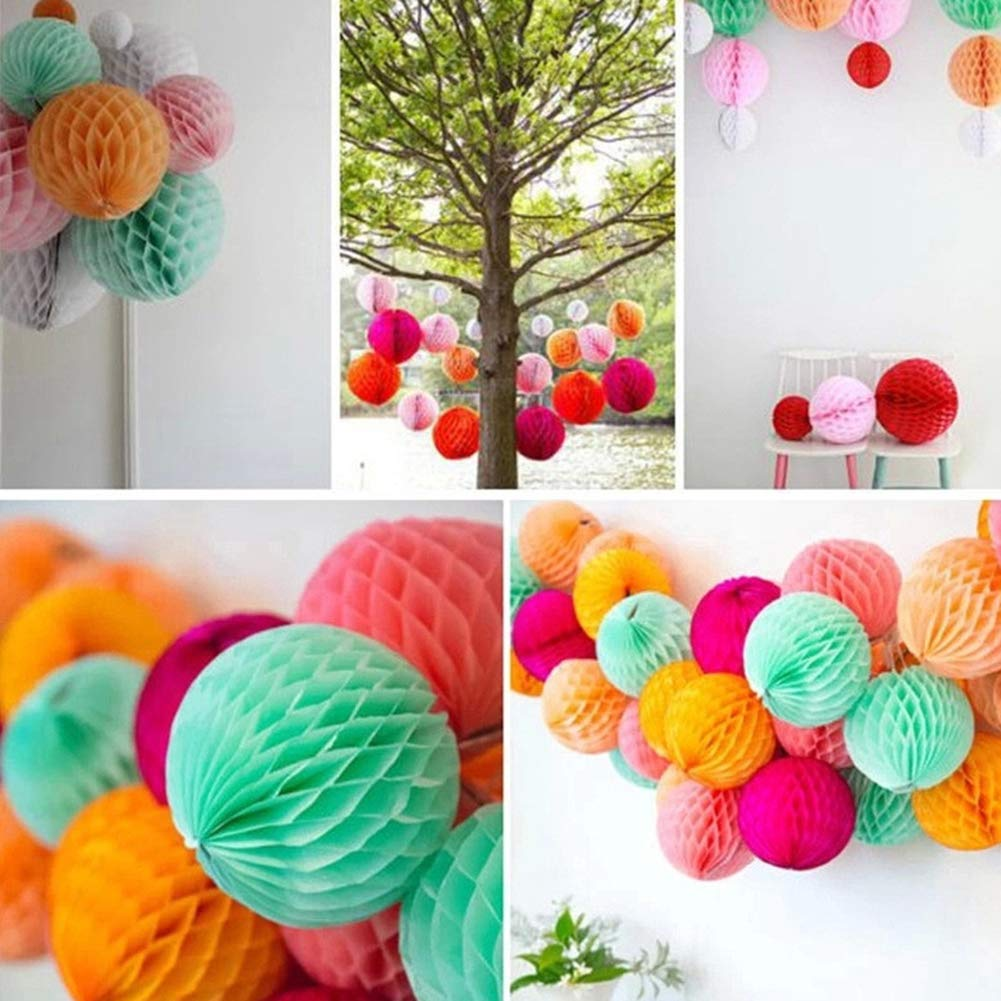 Academyus 8/16in Solid Color Tissue Paper Pompom Honeycomb Ball Hanging Wedding Party Decor Purple 8 in by Academyus (Image #6)
