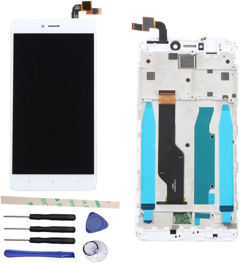 Draxlgon Pantalla LCD Pantalla Táctil Asamblea digitalizador con Marco Recambio para Xiaomi Hongmi Redmi Note 4X/Note 4 Global Version Qualcomm Snapdragon 625 (Blanco con Marco)