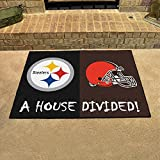 "Fanmats Home Indoor sports Team Logo Mat Pittsburgh Steelers - Cleveland Browns House Divided Rugs 34""x45"""