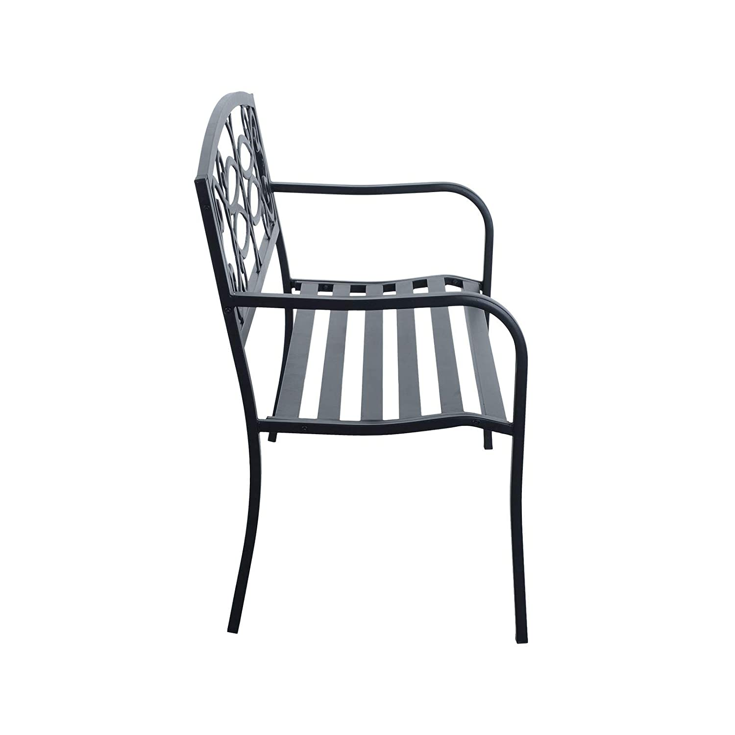 Azuma Regal Bench Garden Furniture 2 Seater Outdoor Chair Seat Black Steel Seating With Elegant Backrest For Patio Conservatory Decking Deck Park Picnic Barbecue BBQ Party Family Friends Summer