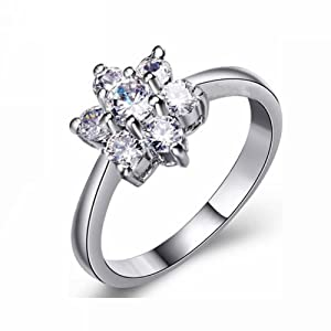 engagement ring 18k white gold plated crystal zircon ring band lady flower cz ring
