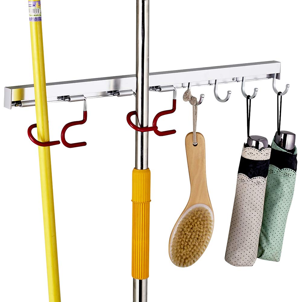 Cavoli Mop and Broom Organizer Wall Mounted, 4 Adjustable Holder and 3 Hooks,Storage Solutions for Broom Holders, Metal and Easy Clean