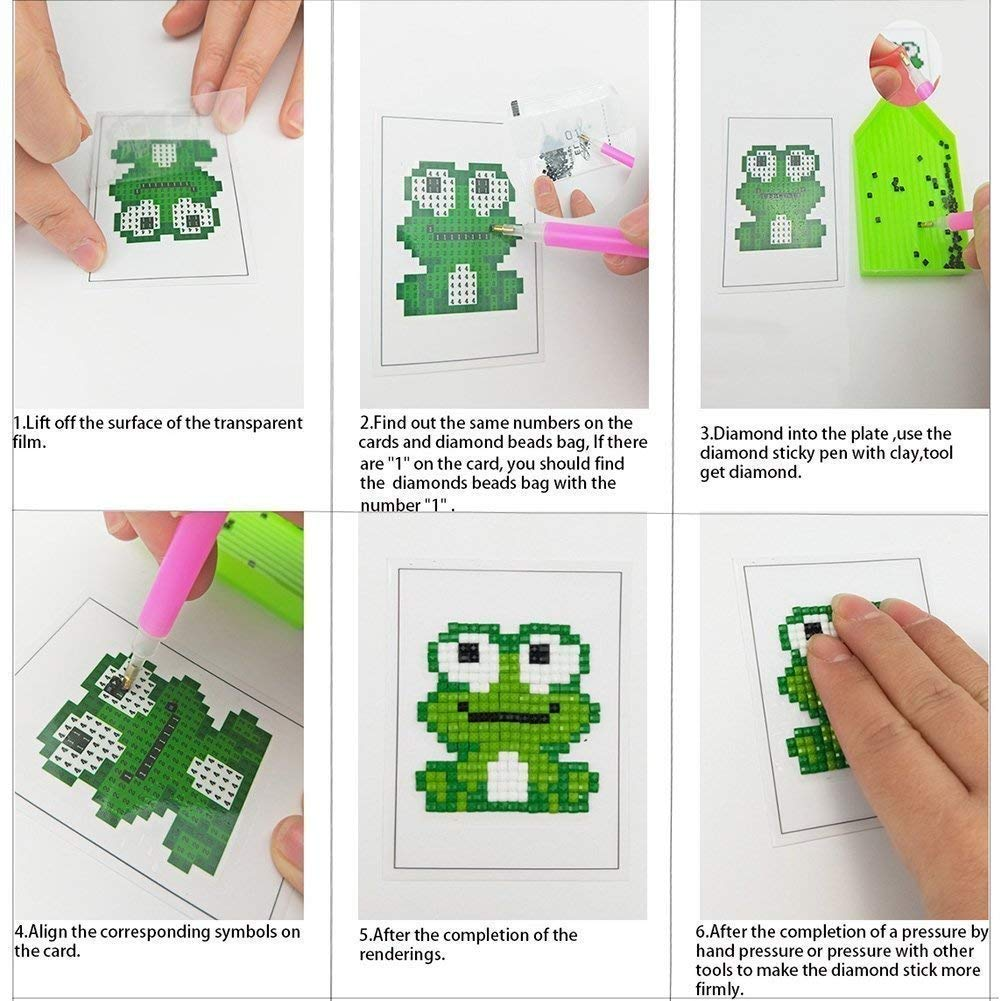 BENBO 8Pcs Cactus Diamond Painting Stickers for Kids and Adult Beginners DIY 5D Easy Diamond Painting Kits by Numbers Crystal Gems Arts Crafts