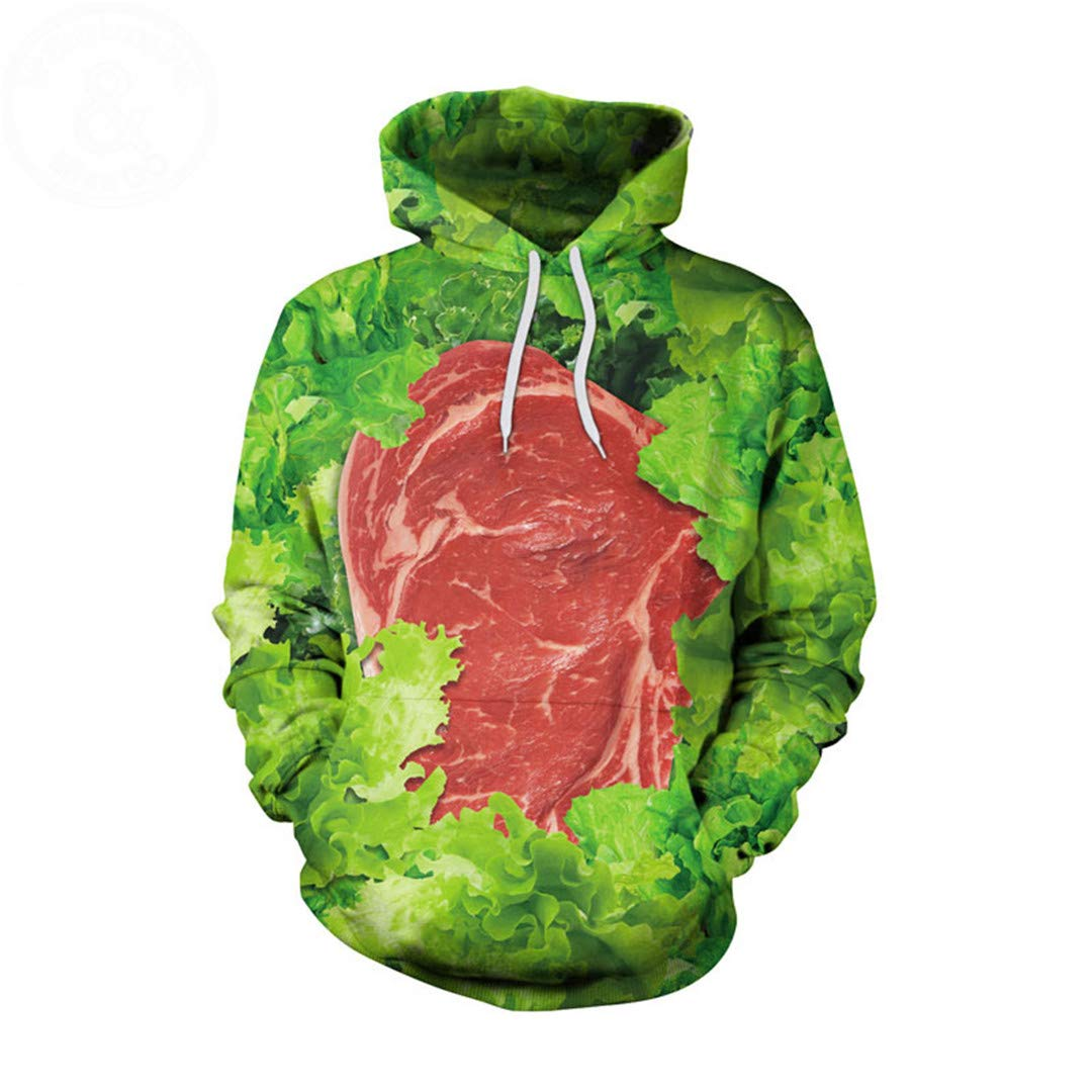 DAZZIYLD Funny Vegetables Meat Print Men Women 3D Hoodies Sweatshirts at Amazon Mens Clothing store: