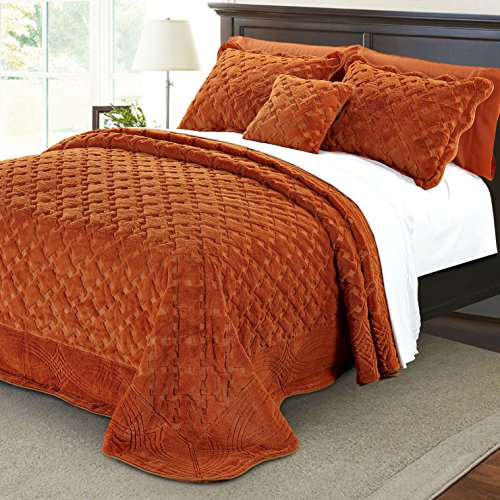 Serenta Faux Fur Quilted Tatami 4 Piece Bedspread Set, Queen, Burnt Orange