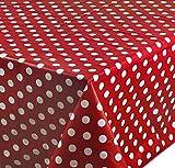 Rectangular Oilcloth PVC Wipe Clean Tablecloth 140cm x 200cm 55x78 Polka Dot Bordeau Dark Red