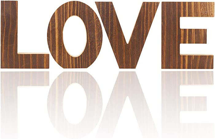 Distressed Multi Colored Wood Block Love Sign, Decorative Wooden Cutout Letters (Brown Wood Block Love)
