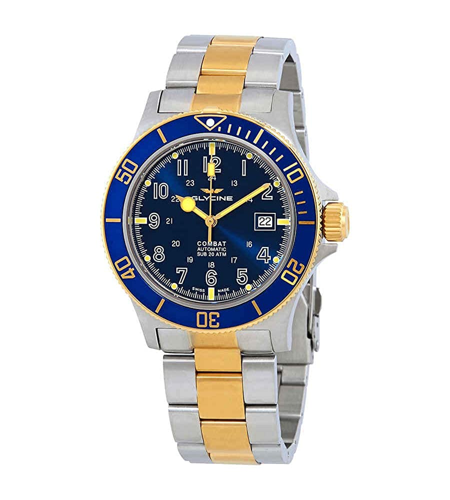 Buy Glycine Combat Sub Blue Dial Mens Two Tone Watch GL0081 Online at Low  Prices in India - Amazon.in