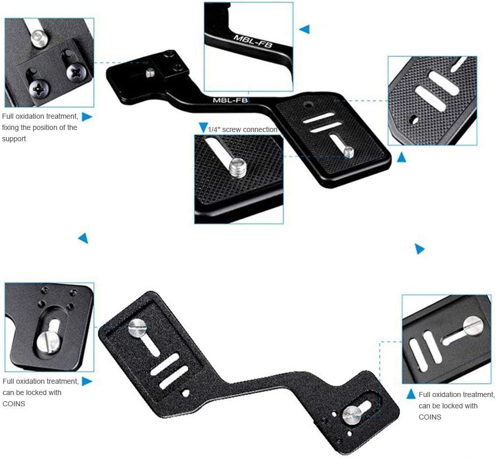 Tosuny Stativhalterung f/ür Kamera-Taschenlampen aus Aluminiumlegierung mit 1//4Schraubenloch und 2 St/ück 1//4 Adapter f/ür DSLR-Standaufnahmen f/ür Digitalkameras