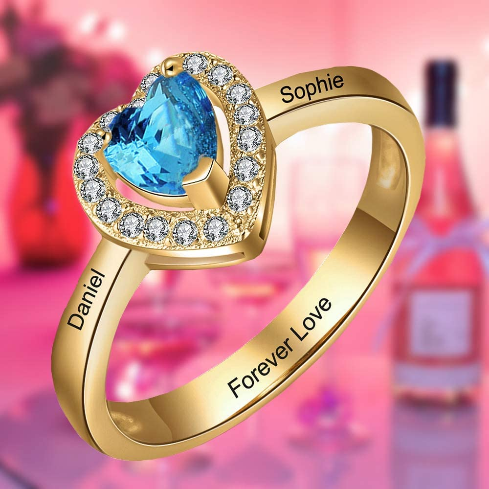 Personalised Rings for Mums Gold Rings for Women Girls Couple Promise Wedding Engragement Rings Customised Simulated Birthstone Engraved Name Ring Birthday Gift for Wife Love Sterling Silver