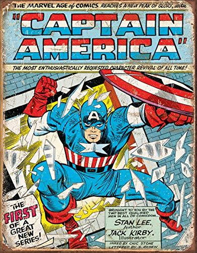 Desperate Enterprises Captain America Comic Cover Tin Sign, 12.5
