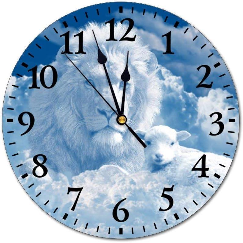 Promini Fashion PVC Wall Clock Jesus Christ God Holy Spirit Bible Gospel Lion Silent Non-Ticking Round Wall Clock Custom Clock Decorative Clock 25x25cm(10x10Inch)