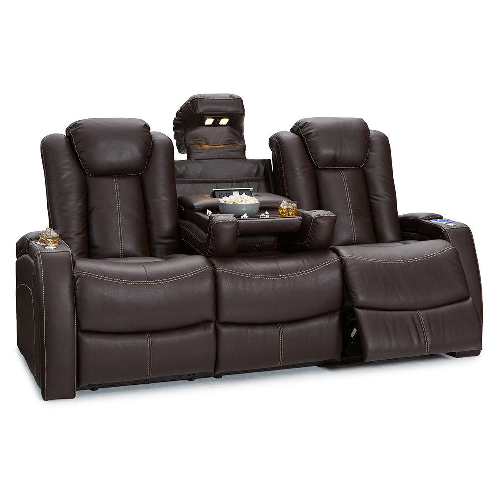 Seatcraft Republic Leather Home Theater Seating Power Recline - (Row of 3 Sofa w/ Drop-Down Table, Brown)