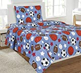 WPM 3 Piece TWIN Sheet Set Kids/Teens Soccer base basket foot ball print Design Luxury Sheets New- Game Day