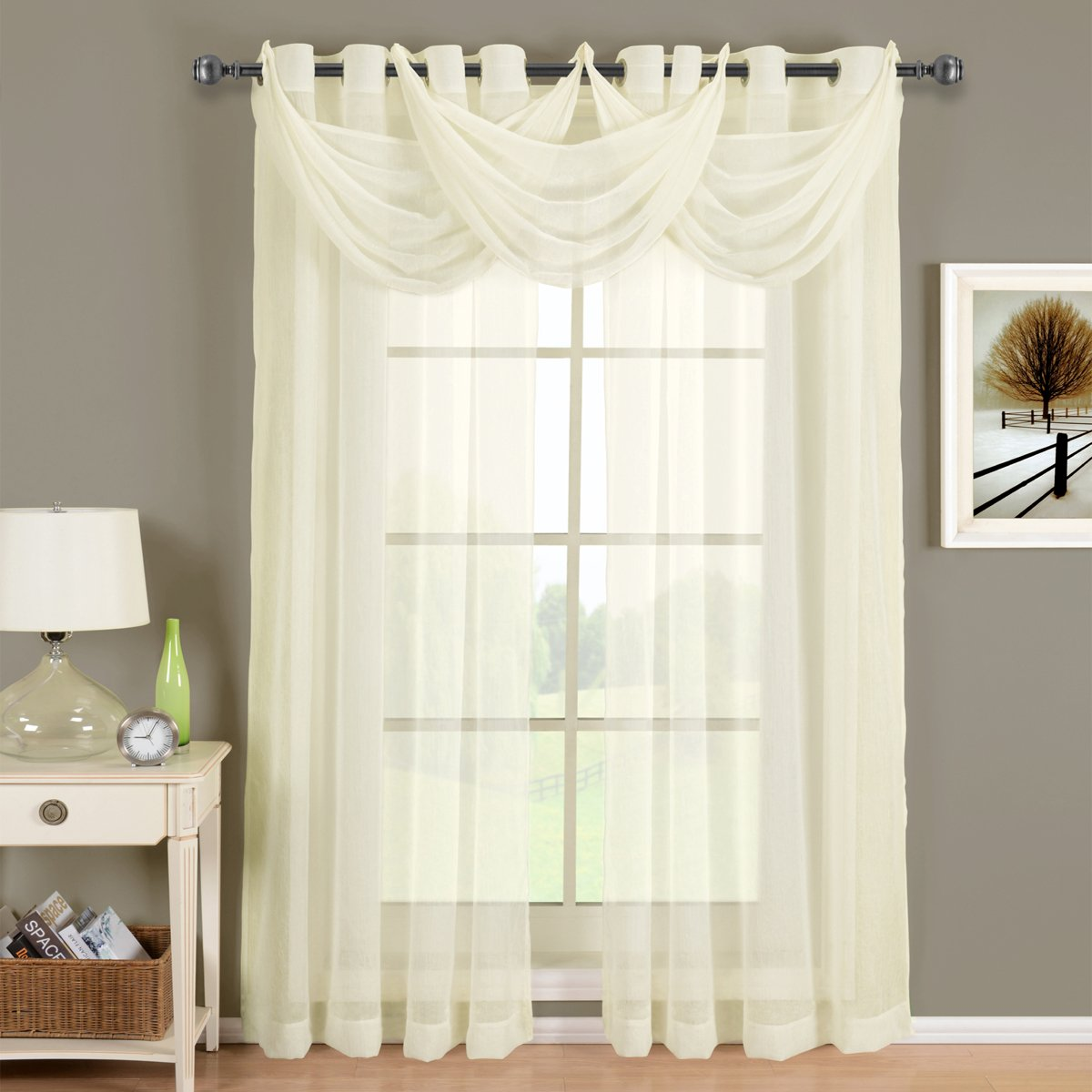 Luxury Abri Ivory Grommet Crushed Sheer Curtain, 50x84 inches, by Royal Hotel