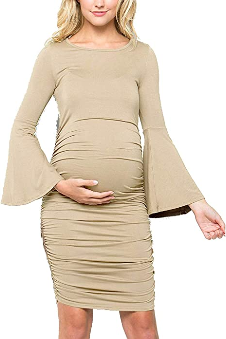 autumn shoes sneakers for cheap quite nice Naliha Women Maternity Dresses Ruched Long Sleeve Skinny Pregnancy ...