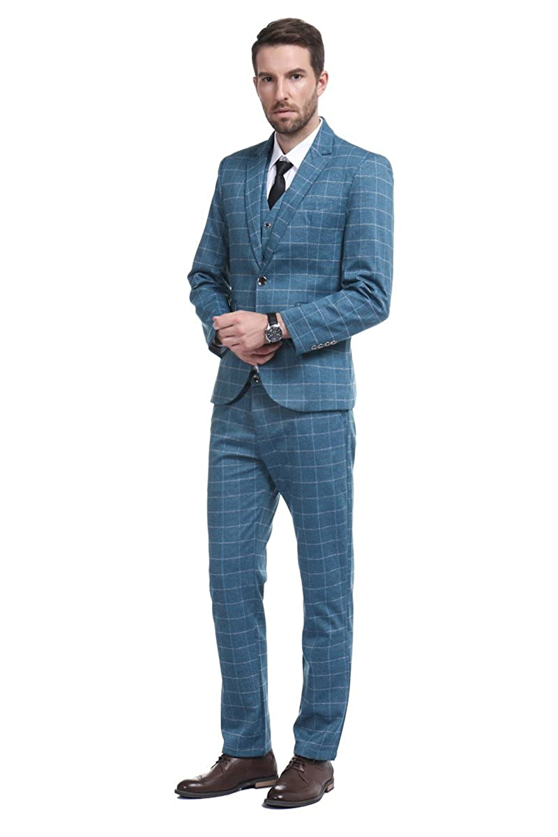 Cloudstyle Men\'s Suit Plaid Modern Fit 3-Piece Suit Center Vent ...