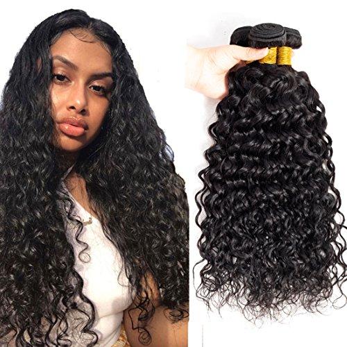 Brazilian Hair 3 Bundles Water Wave Hair 16 18 20 inch Brazilian Curly Human Hair Bundles Wet And Wavy Water Hair Extension Color 1B#