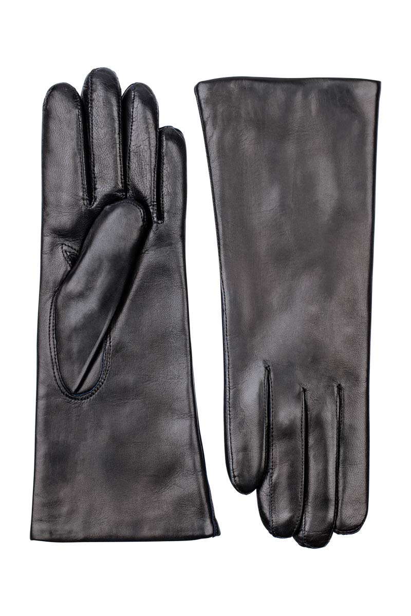 Hestra Women's Ultra Navy Hairsheep Leather Pique 3Btn Cashmere Lined Gloves