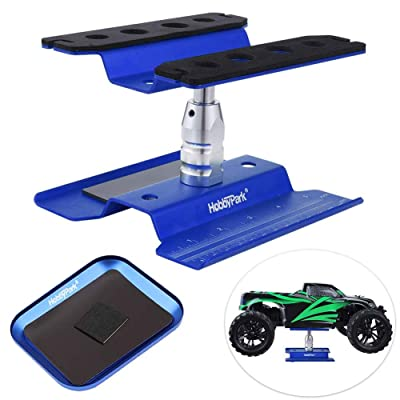 Hobbypark Aluminum RC Car Work Stand Repair Workstation 360 Degree Rotation Lift /Lower w/ Screw Tray for 1/10 1/12 1/16 Scale Car Truck Buggy (Navy Blue with Screw Tray): Toys & Games