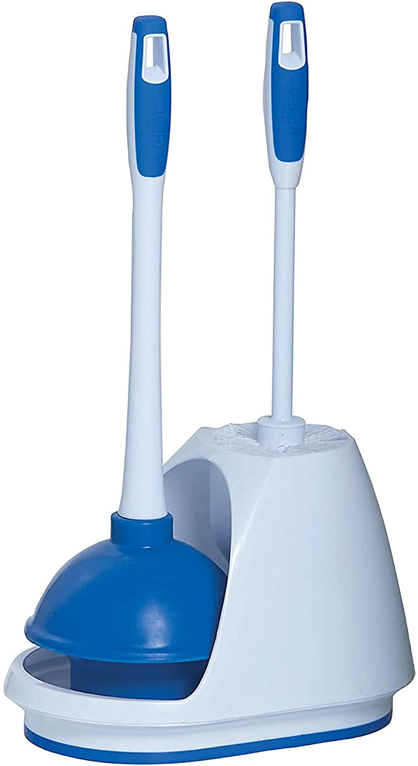 9 Count Turbo Plunger and Bowl Brush Caddy Set and Cleaning Pads