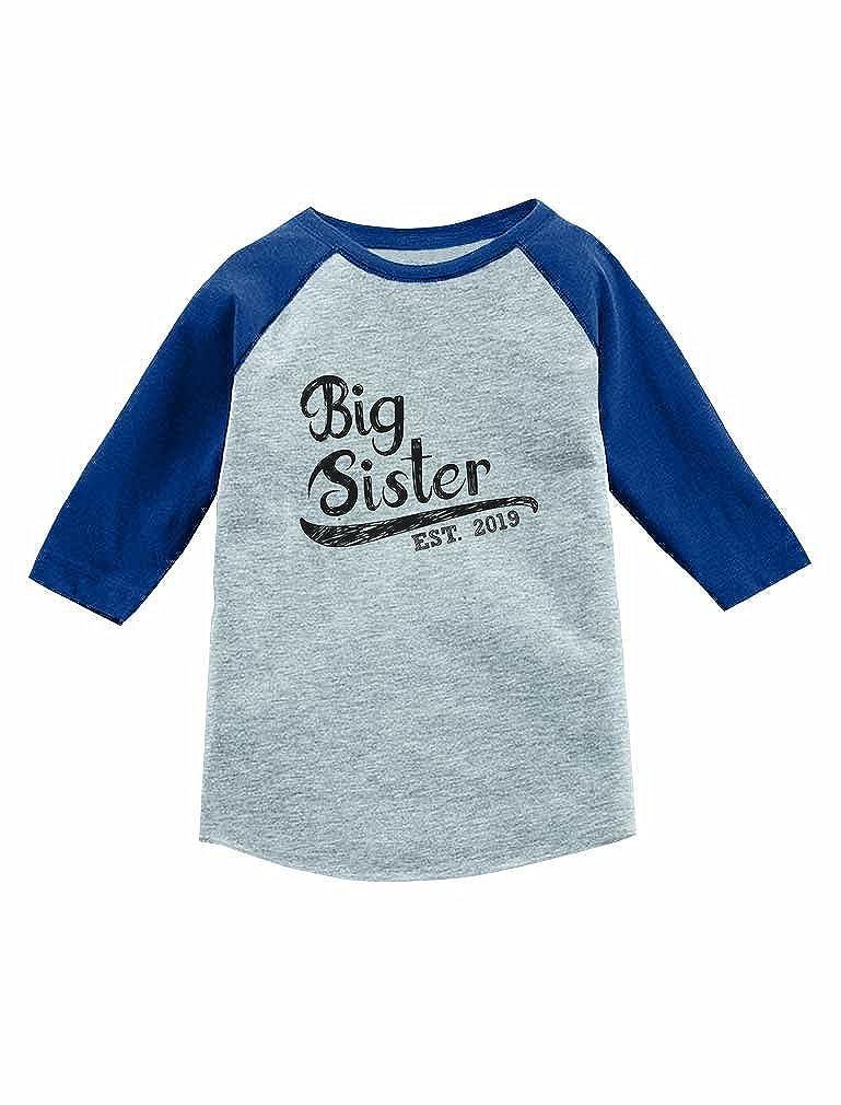 Big Sister Est 2019 Sibling Gifts 3//4 Sleeve Baseball Jersey Toddler Shirt