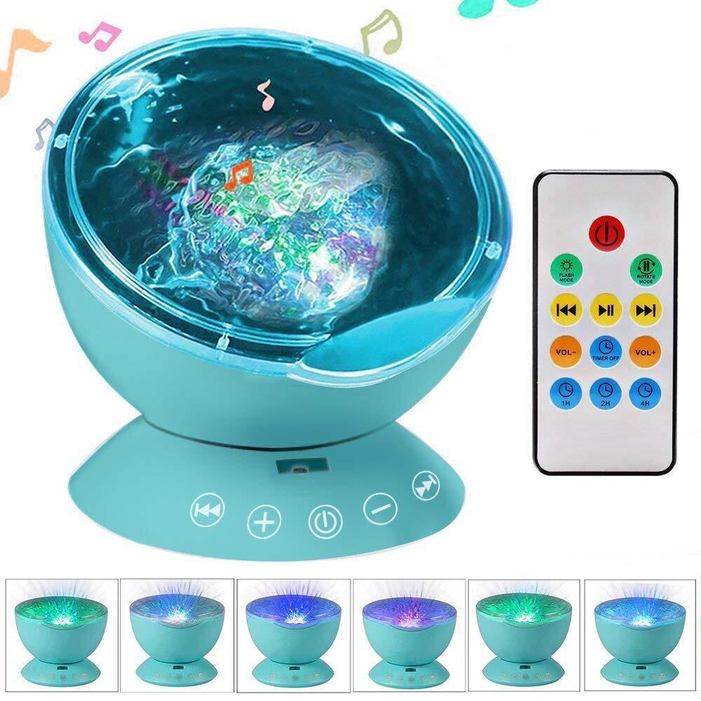 Kingcenton マルチカラー オーシャン ウェーブ ナイトライト プロジェクター 音楽プレーヤー LED12個 ブルー 赤 緑の変化 MP3 iPhoneスピーカー LEDランプ 赤ちゃん 子供 寝室用 KCT-OL  Multicolor W/ Remote Control - Blue B07G86BD5J
