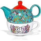 Toki Doki Decorative Ceramic Teapot Set, 11oz, By JustFunky