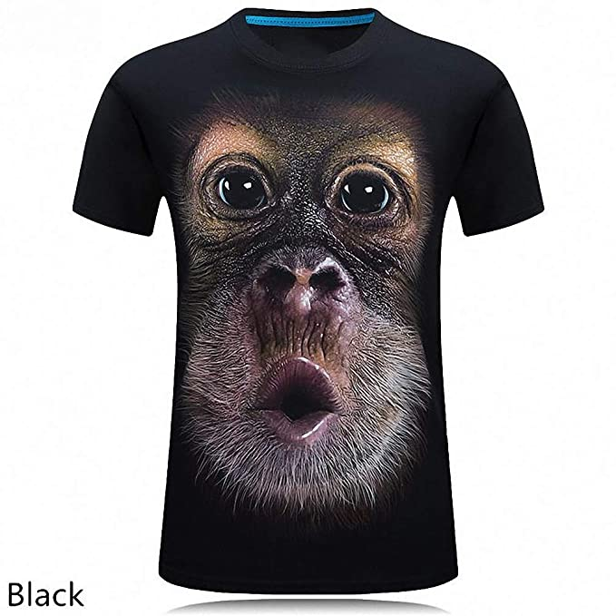 ce9b4716 Amazon.com: Men's O-Neck Short Sleeve Animal T-Shirt Monkey/Lion 3D Digital  Printed T Shirt: Clothing