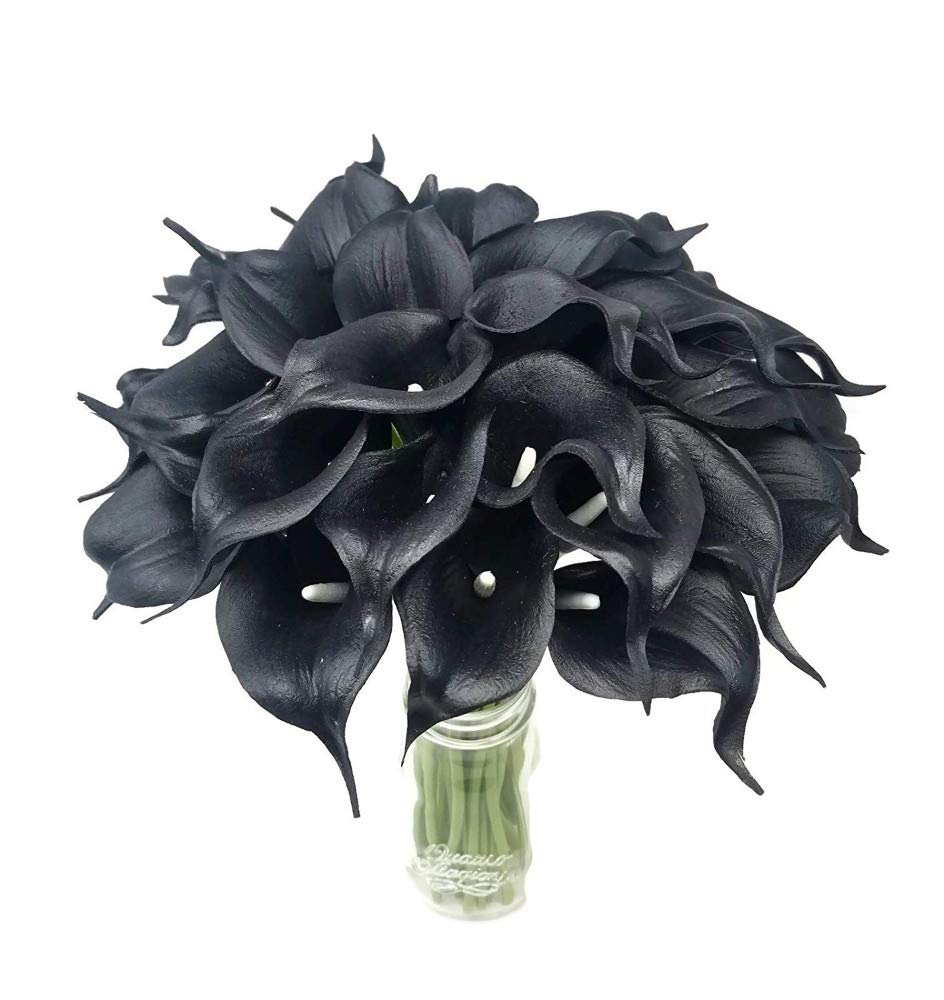 Real-Touch-Latex-Calla-Lily-Bunch-Artificial-Spring-Flowers-for-Home-Decor-Wedding-Bouquets-and-centerpieces-18-PCS-Black-Velvet