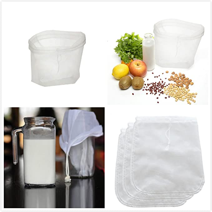 BESTONZON Bolsa de leche de nuez, bolsa de tamiz de alimentos de malla fina de nylon reutilizable, filtro de calidad alimentaria para leche de almendra, ...