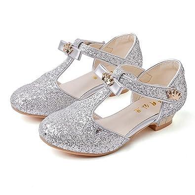 583bbd9d29e39 Fanessy Sandales Fille Ballerine Chaussure à Talon Argenté Or Enfant avec  Paillette Noeud Princesse Chaussure de