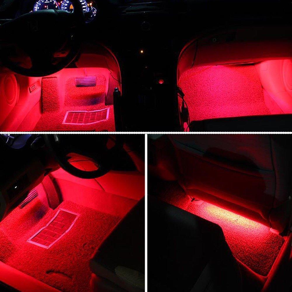 Red1 Car LED Strip Light,4pcs Interior Under Dash Lighting Kit LED Multicolor Auto Interior LED Atmosphere Lights