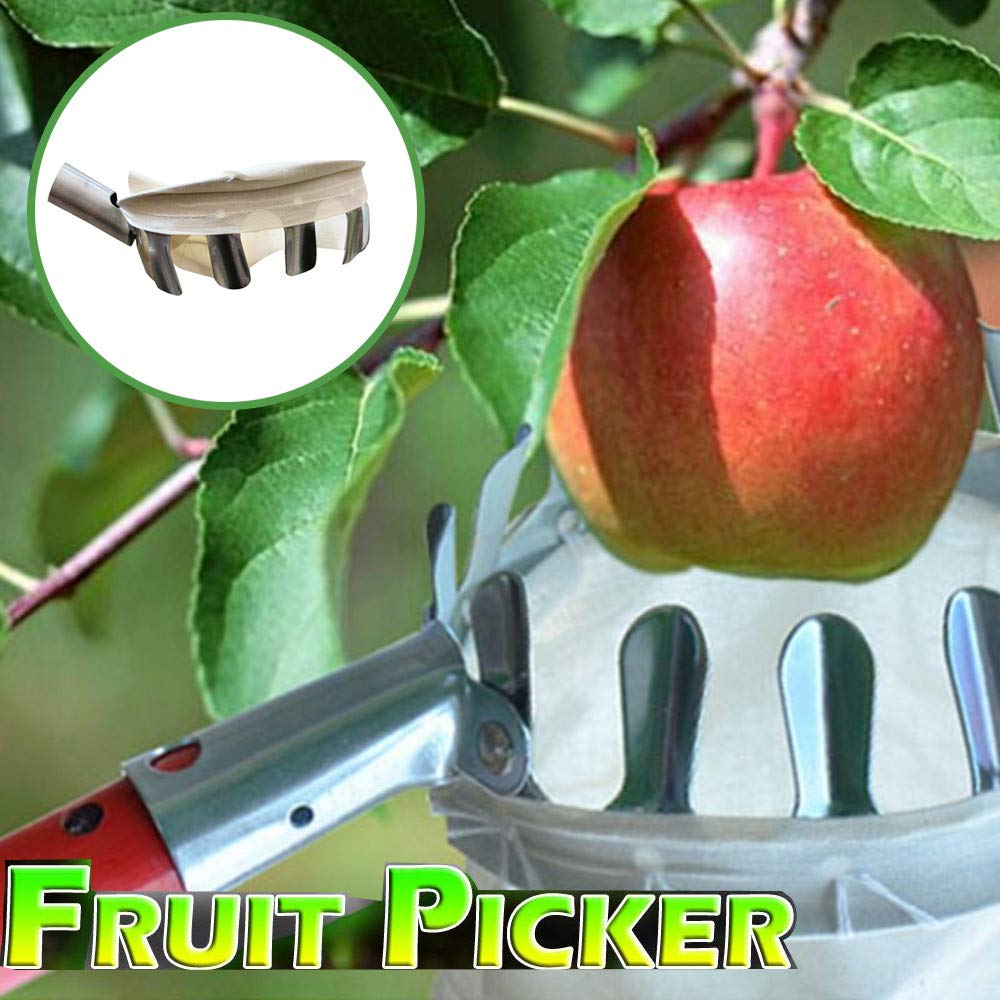 Fruit Picker with Bag Basket Garden Farm Fruit Catcher Harvest Picking Tool for Picking Apple Pear Orange Peach and More 1pcs