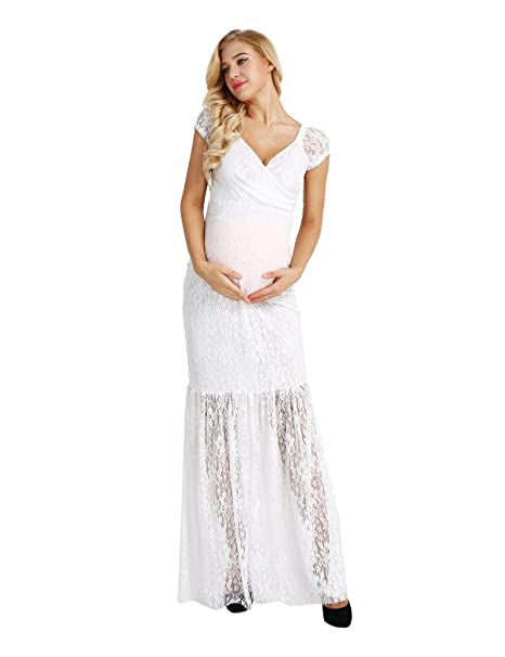 5826344a211c2 YiZYiF Women's Lace Maternity Dress V Neck Short Sleeve See Through Maxi Dresses  White Small