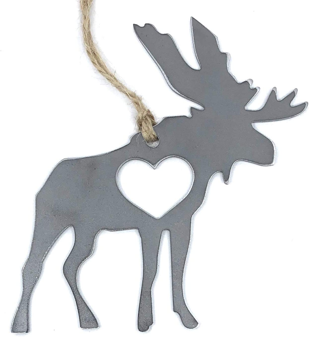 Handcrafted Rustic Moose Heart Hanging Ornament Industrial Décor Rearview Car Made in The USA
