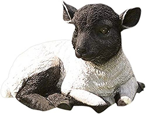 Plow Hearth 54010-BK Resting Lamb Suffolk Sheep Resin Garden Statu