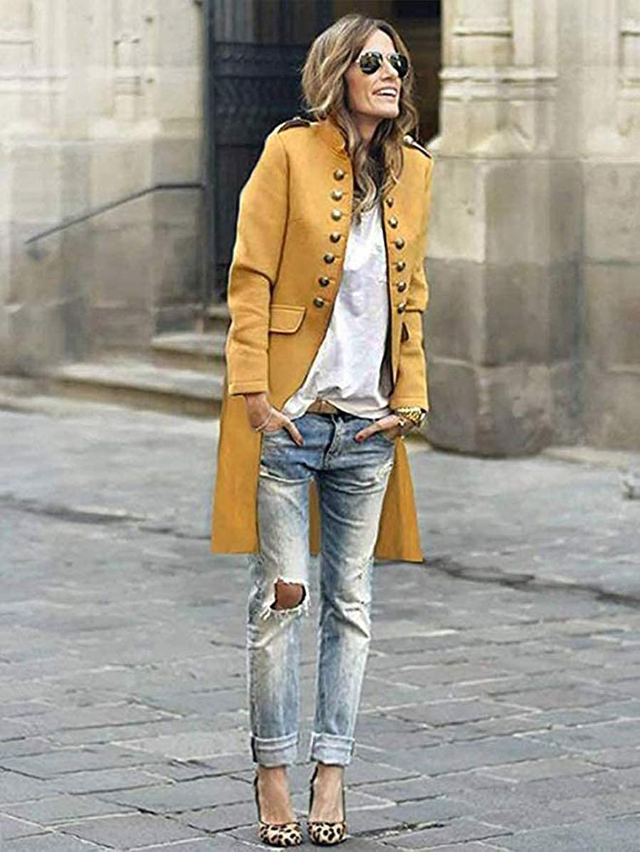 ORANDESIGNE Lady Blazer Button Military Jacket Stand Collar Office Suit Coat