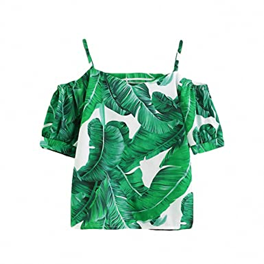 3a85ebee921 Green Casual Blouse New Women Palm Leaf Print Sexy Cold Shoulder Summer Tops  Fashion Short Sleeve Tunic Beach Blouse - Green -: Amazon.co.uk: Clothing