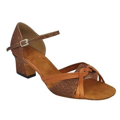 f24d2ac1a22 Misu Women s Peep Toe Sandals Latin Salsa Tango Practice Ballroom Dance  Shoes with 1.8 quot  Heel