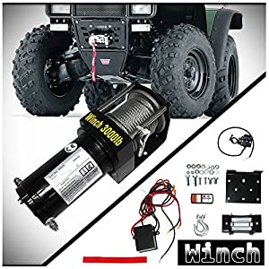 WIN-2X 1pc Brand New Universal DC 12V/24V 3000lb / 1361kg Capacity Electric Waterproof Recovery Winch Kit With Mounting Plate/Bracket & Wireless Remote Control Switch For ATV & Multiple Applications