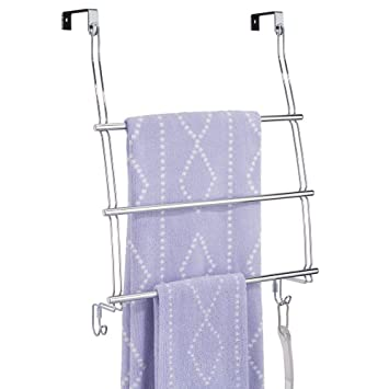 mDesign Perchero de puerta en acero - Colgador de ropa con tres barras para toallas, ...