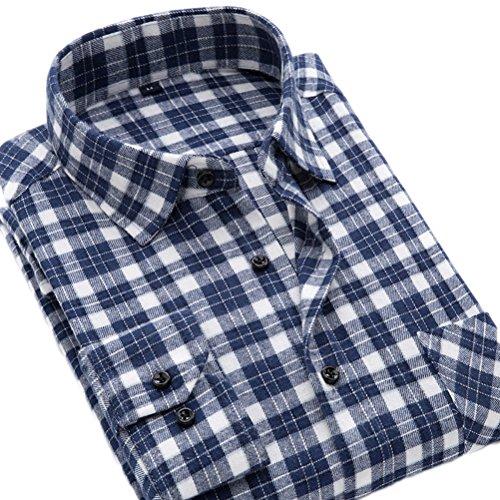 Vestito A Camicia Pianura Di Quadri Di A Soojun Uomini F43 Lunghe Maniche Flanella S1qzW1Un