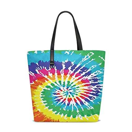 beeed9b8c Amazon.com: Tie Dye Rainbow Tote Bags Handbag Waterproof Shopping Totes For  Women Girls Travel Beach Double-sided use