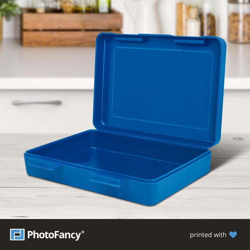 PhotoFancy/® Brotbox zum personalisieren Blau Brotdose mit Foto bedrucken Lunchbox mit eigenem Motiv selbst gestalten