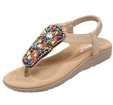 2f8aae76467 cnWay Women s Sandals Shoes Ankle Strap Roman Braided T-Strap Gladiator  Sandals Flats Thong Sandals Summer ...