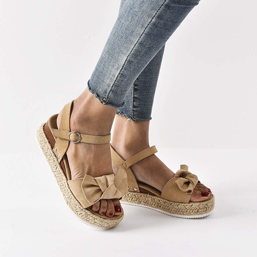 Longzjhd Dames R/étro L/éopard Compens/ées Sandales Femmes Mode Casual Bowknot Solide Chaussures Plage Bout Ouvert Boucle Cheville Sangle Espadrilles Dames D/ét/é Plate-Forme Sandales