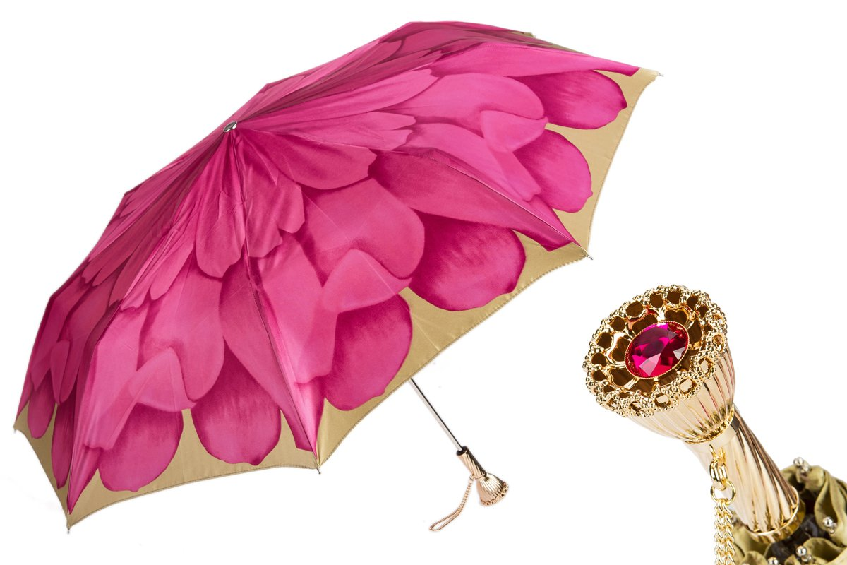 Pasotti Folding Umbrella - Limited Edition Dahlia Flower - Pink