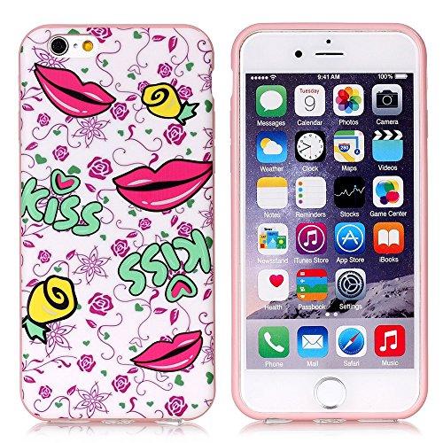 """Apple iPhone 6Plus/6S Plus Étui Housse Case """"Kiss Lèvres Multicolore decui Multicolore/TPU Coque en gel"""