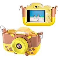 ShinePick - Mini cámara digital para niños, visualización de 2 pulgadas, 12 MP, HD, videocámara infantil, recargable, cámara digital para selfie delantera y trasera, con cubierta suave de silicona de dibujos animados y tarjeta micro SD
